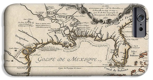 Gulf iPhone Cases - Antique Map of the Gulf Coast and the Southeast by Nicolas de Fer - 1701 iPhone Case by Blue Monocle