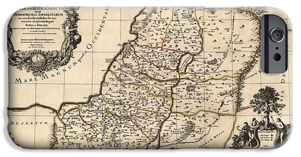 Israel iPhone Cases - Antique Map of the Holy Land by Alexis Hubert Jaillot - 1696 iPhone Case by Blue Monocle