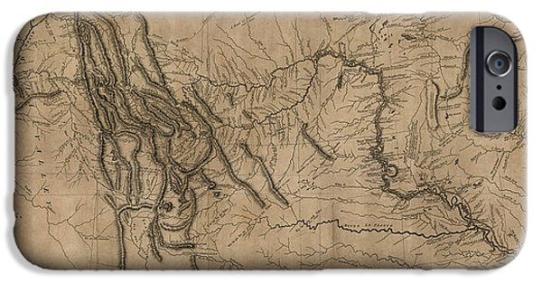 Nebraska iPhone Cases - Antique Map of the Lewis and Clark Expedition by Samuel Lewis - 1814 iPhone Case by Blue Monocle