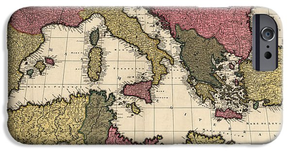 Mediterranean iPhone Cases - Antique Map of the Mediterranean by Gerard Valck - circa 1695 iPhone Case by Blue Monocle