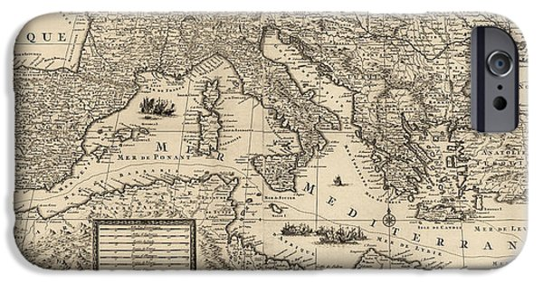Mediterranean iPhone Cases - Antique Map of the Mediterranean by Guillaume Sanson - circa 1680 iPhone Case by Blue Monocle