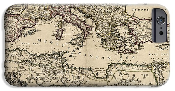 Mediterranean iPhone Cases - Antique Map of the Mediterranean Region by William Berry - 1685 iPhone Case by Blue Monocle