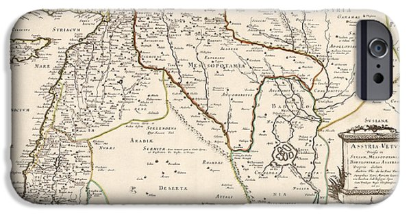 Jordan iPhone Cases - Antique Map of the Middle East by Philippe de La Rue - 1651 iPhone Case by Blue Monocle
