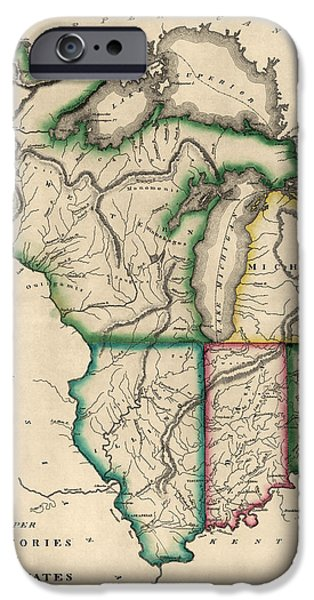 Minnesota iPhone Cases - Antique Map of the Midwest US by Kneass and Delleker - circa 1810 iPhone Case by Blue Monocle