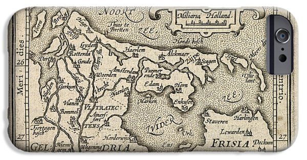 Nederland iPhone Cases - Antique Map of the Netherlands by Abraham Ortelius - 1603 iPhone Case by Blue Monocle