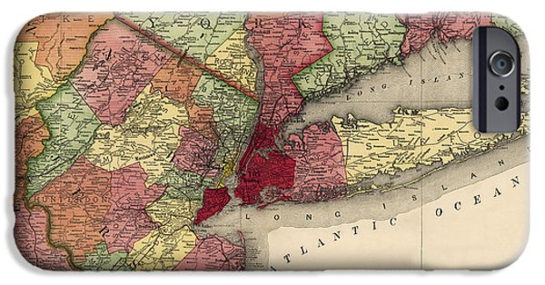 Recently Sold -  - Antiques iPhone Cases - Antique Map of the New York City Region by Rand McNally and Company - 1908 iPhone Case by Blue Monocle