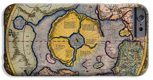 North Sea Drawings iPhone Cases - Antique Map of the North Pole 1623 iPhone Case by Mountain Dreams