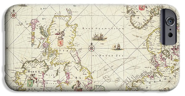 North Sea Drawings iPhone Cases - Antique Map of the North Sea iPhone Case by Frederick de Wit
