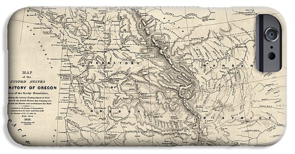 Alberta iPhone Cases - Antique Map of the Pacific Northwest by Washington Hood - 1838 iPhone Case by Blue Monocle