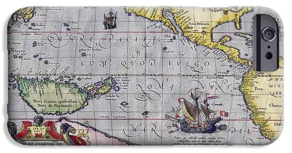 Pacific Ocean Prints iPhone Cases - Antique Map of the Pacific Ocean iPhone Case by Ortelius