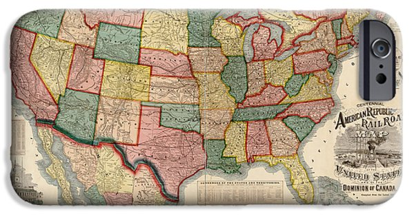 Watson iPhone Cases - Antique Map of the United States by Gaylord Watson - 1875 iPhone Case by Blue Monocle