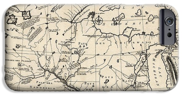 Minnesota iPhone Cases - Antique Map of the Upper Midwest US  and Great Lakes by Benard - circa 1768 iPhone Case by Blue Monocle