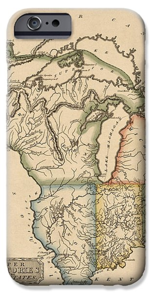 Minnesota iPhone Cases - Antique Map of the Upper Midwest US by Fielding Lucas - circa 1817 iPhone Case by Blue Monocle