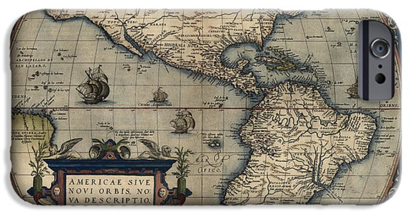Westerns Drawings iPhone Cases - Antique Map of the Western Hemisphere by Abraham Ortelius - 1570 iPhone Case by Blue Monocle