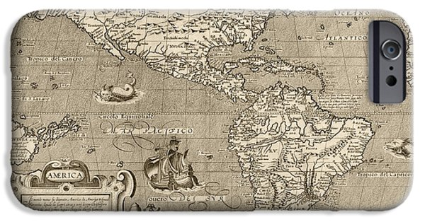 Westerns Drawings iPhone Cases - Antique Map of the Western Hemisphere by Arnoldo di Arnoldi - circa 1600 iPhone Case by Blue Monocle
