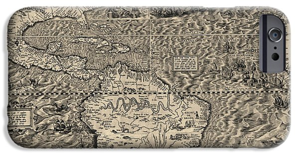Ocean Drawings iPhone Cases - Antique Map of the Western Hemisphere by Diego Gutierrez - 1562 iPhone Case by Blue Monocle