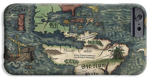 Westerns Drawings iPhone Cases - Antique Map of the Western Hemisphere by Sebastian Munster - circa 1550 iPhone Case by Blue Monocle