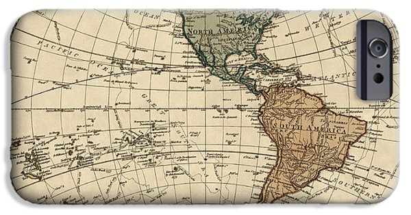 Ocean Drawings iPhone Cases - Antique Map of the Western Hemisphere by William Faden - 1786 iPhone Case by Blue Monocle