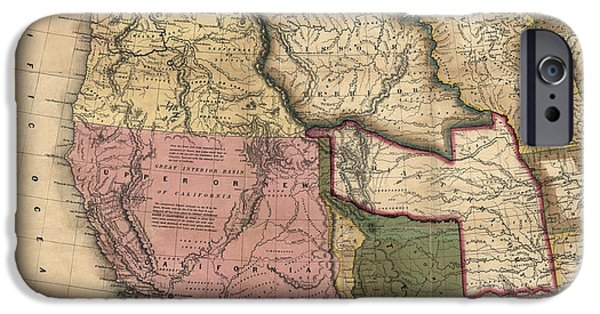 Westerns Drawings iPhone Cases - Antique Map of the Western United States by Samuel Augustus Mitchell - 1846 iPhone Case by Blue Monocle