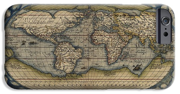 Antiques iPhone Cases - Antique Map of the World by Abraham Ortelius - 1570 iPhone Case by Blue Monocle