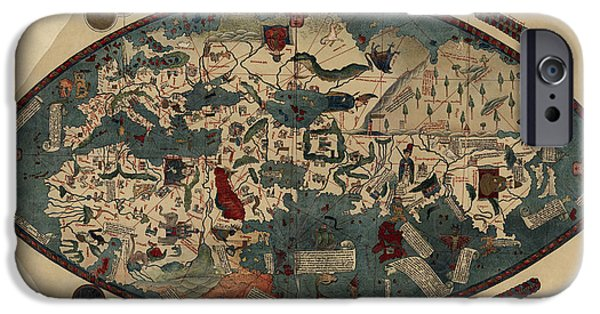 Paolo iPhone Cases - Antique Map of the World by Paolo del Pozzo Toscanelli - circa 1450 iPhone Case by Blue Monocle