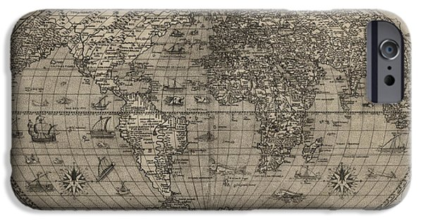 Paolo iPhone Cases - Antique Map of the World by Paolo Forlani - 1560 iPhone Case by Blue Monocle