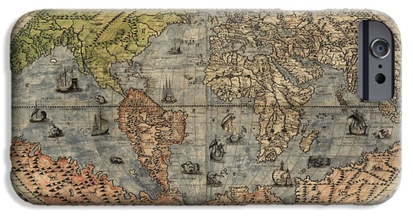 Vintage Map iPhone Cases - Antique Map of the World by Paolo Forlani - 1565 iPhone Case by Blue Monocle