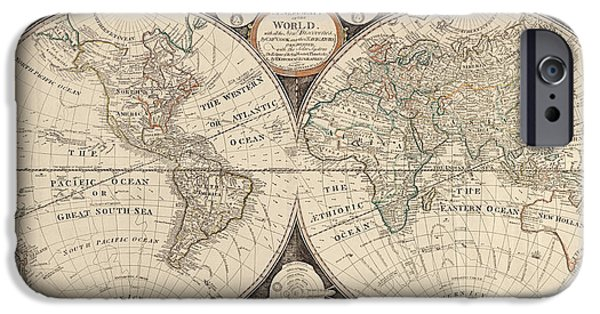 Vintage Map iPhone Cases - Antique Map of the World by Thomas Kitchen - 1799 iPhone Case by Blue Monocle