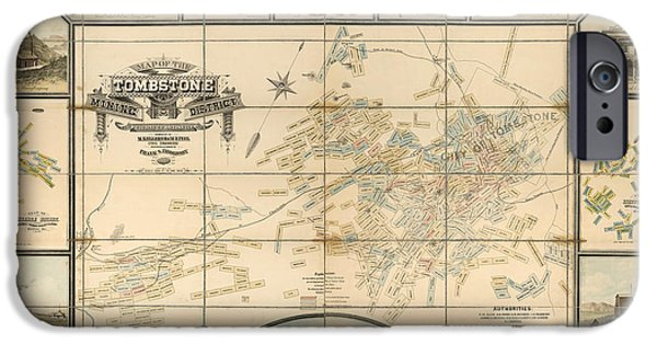 Tombstones iPhone Cases - Antique Map of Tombstone Arizona by Frank S. Ingoldsby - 1881 iPhone Case by Blue Monocle