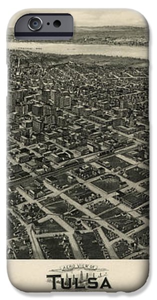 Antique Map of Tulsa Oklahoma by Fowler and Kelly - 1918 iPhone Case by Blue Monocle