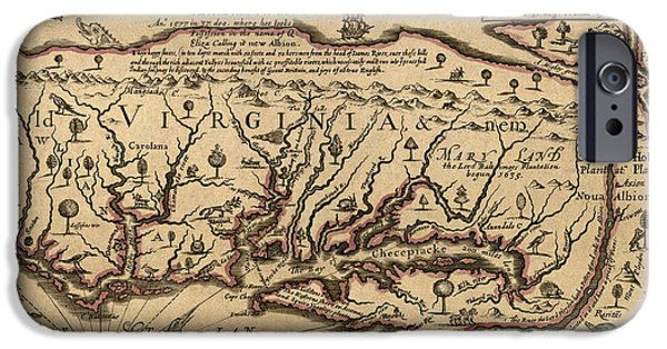 Virginia iPhone Cases - Antique Map of Virginia and Maryland by John Farrer - circa 1667 iPhone Case by Blue Monocle