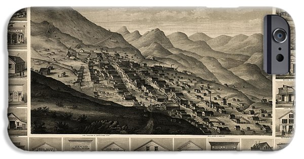 Virginia iPhone Cases - Antique Map of Virginia City Nevada by Charles Conrad Kuchel - 1861 iPhone Case by Blue Monocle