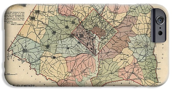 Montgomery iPhone Cases - Antique Map of Washington DC by Andrew B. Graham - 1891 iPhone Case by Blue Monocle