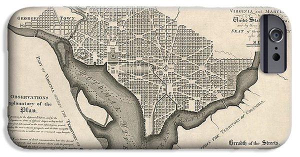 District Of Columbia iPhone Cases - Antique Map of Washington DC by Andrew Ellicott - 1792 iPhone Case by Blue Monocle