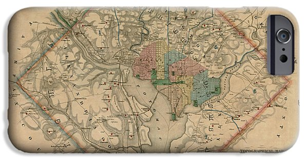 War Drawings iPhone Cases - Antique Map of Washington DC by Colton and Co - 1862 iPhone Case by Blue Monocle
