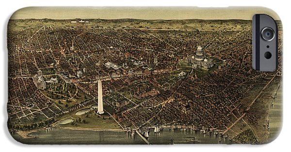 District Of Columbia iPhone Cases - Antique Map of Washington DC by Currier and Ives - circa 1892 iPhone Case by Blue Monocle