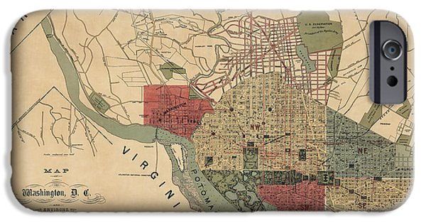 District Of Columbia iPhone Cases - Antique Map of Washington DC by R. E. Whitman - 1887 iPhone Case by Blue Monocle