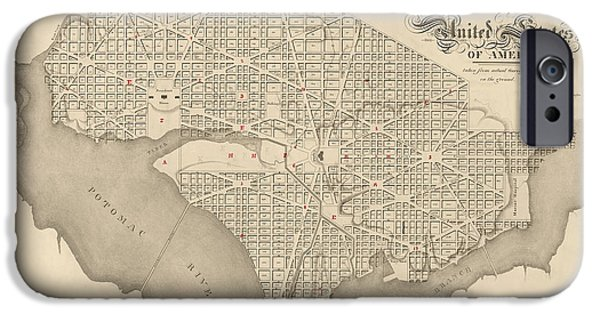 District Of Columbia iPhone Cases - Antique Map of Washington DC by Robert King - 1818 iPhone Case by Blue Monocle