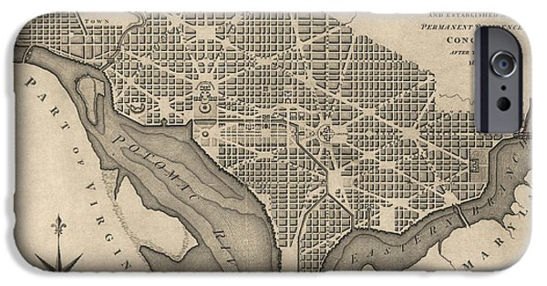 District Of Columbia iPhone Cases - Antique Map of Washington DC by William Bent - 1793 iPhone Case by Blue Monocle