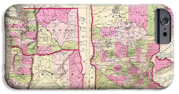 Minnesota Drawings iPhone Cases - Antique Map of Washington Oregon and Minnesota 1864 iPhone Case by Mountain Dreams