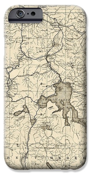 War iPhone Cases - Antique Map of Yellowstone National Park by the U. S. War Department - 1900 iPhone Case by Blue Monocle
