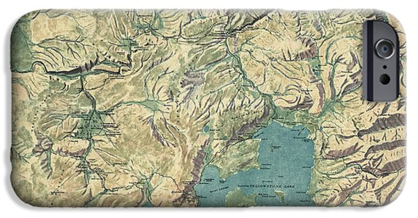 Yellowstone National Park iPhone Cases - Antique Map of Yellowstone National Park by the USGS - 1915 iPhone Case by Blue Monocle