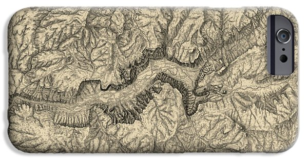 Vintage Map iPhone Cases - Antique Map of Yosemite National Park by George M. Wheeler - circa 1884 iPhone Case by Blue Monocle