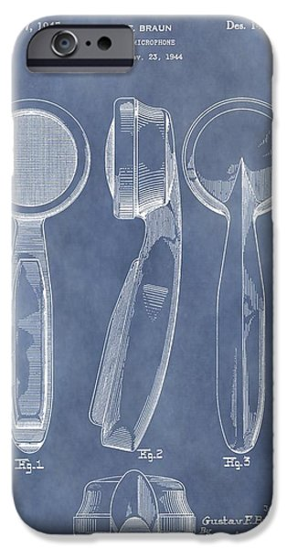 Electrical iPhone Cases - Antique Microphone Patent iPhone Case by Dan Sproul