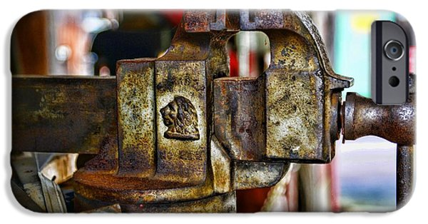 Vise iPhone Cases - Antique Monarch Cast Iron Bench Vise  iPhone Case by Paul Ward