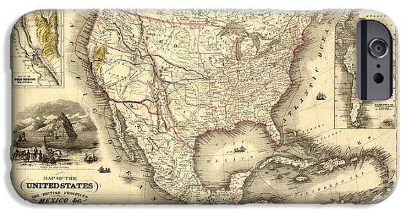 Gary Grayson iPhone Cases - Antique North America Map iPhone Case by Gary Grayson