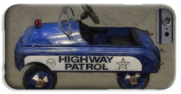 Police Cruiser iPhone Cases - Antique Pedal Car V iPhone Case by Michelle Calkins