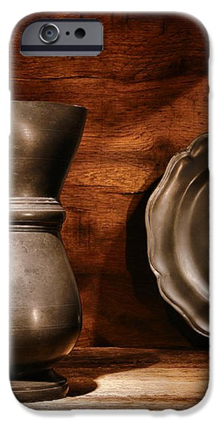 Antique Pewter Pitcher and Plate iPhone Case by Olivier Le Queinec