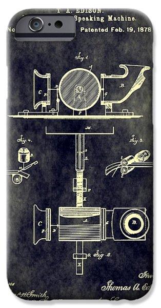 Thomas Alva Edison iPhone Cases - Antique Phonograph Patent iPhone Case by Dan Sproul