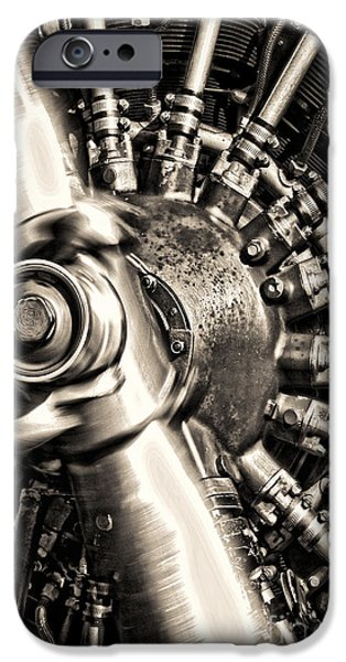 Planes Photographs iPhone Cases - Antique Plane Engine iPhone Case by Olivier Le Queinec